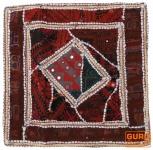 Patchwork Kissenhülle, Dekokissen Bezug aus Rajasthan, Einzelstück - Muster 10
