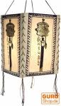 Lokta Papier Hänge-Lampenschirm, Deckenleuchte aus handgeschöpftem Papier, Gebetsmühle - weiß