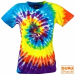 Batik T-Shirt, Tie Dye Goa Shirt Regenbogen - gelb/blau