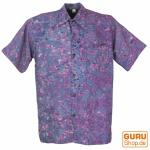 Hippiehemd, Bali - Batik Hemd - flieder/ blau