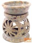 Indische Duftlampe, ätherisches Öl Diffusor, Teelicht Halter für Aromatherapie, Aromalampe aus Speckstein - Rund Sonne & Sterne