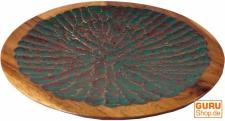 Beschnitzte Holzschale Vintage, exotische Obstschale - grün
