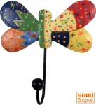 Bunter Holzkleiderhaken, Wandhaken, Kleiderhaken - Schmetterling 2