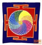 Wandbehang, Wandtuch, Wandbild, Batiktuch - Yantra rot/blau