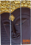 Dreiteiliges Buddhawandbild, dunkelbraun, linksblickend 76*50 cm
