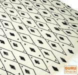 Hangewebter Blockdruck Teppich aus natur Baumwolle mit traditionellem Design - weiß/schwarz Muster 13