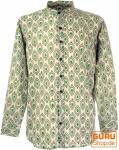 Goa Boho Hemd, Langarm Herrenhemd mit afrikanischem Druck, Stehkragenhemd - sand