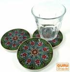 Orientalischer Keramikuntersetzer, runder Untersetzer für Gläser und Tassen mit Mandala Motiv Set - Muster 10