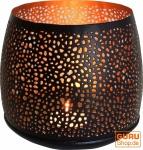Runde Metall Windlicht, Teelichtlampe 12 cm