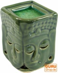 Exotische Duftlampe, Aromalampe Keramik Buddha - grün