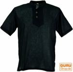 Yoga Hemd, Goa Hemd, Kurzarm, Männerhemd, Baumwollhemd - schwarz