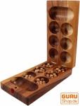 Brettspiel, Gesellschaftsspiel aus Holz - Kalaha mit Holzmurmeln