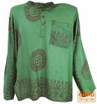 Hare Krishna Mantra Shirt, Goa Hippie Hemd - olive