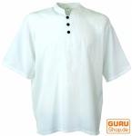 Yoga Hemd, Goa Hemd, Kurzarm, Männerhemd, Baumwollhemd - weiß