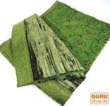 Brokat- Samtdecke, Tagesdecke, Bettüberwurf - henna/grün