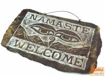 Tibetisches Steinbild, Namaste Relieff aus Schiefer