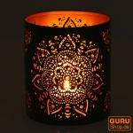 Runde Metall Windlicht, Teelichtlampe - Motiv 3