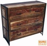 Vintage Kommode, Sideboard mit 3 Schubladen aus Metall und Recyclingholz
