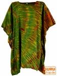 Batik Kaftan, Ibiza-StyleTunika, Boho Bluse, Damen Maxibluse - olive