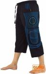 3/4 Yogahose, Goa Hose, Goa Shorts, Herren Shorts - schwarz/blau