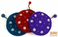 Portemonnaie aus Filz, Filzportemonnaie Blümchen in 3 Farben