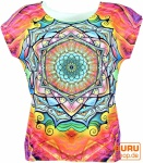 Psytrance T-Shirt, Yoga T-Shirt, Retro T-Shirt - Mandala / pink