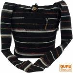 Sadhu Bag gestreift, Goa Tasche Schulterbeutel - schwarz