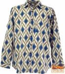 Goa Boho Hemd, Langarm Herrenhemd mit afrikanischem Druck - marine/sand