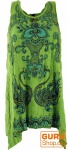 Baba Longshirt, Psytrance Minikleid - Blumen hennagrün