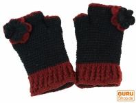 Handstupen aus Wolle mit Blume - schwarz/rot