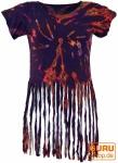 Batik Hippie T-Shirt mit Fransen - violett