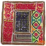 Patchwork Kissenhülle, Dekokissen Bezug aus Rajasthan, Einzelstück - Muster 1