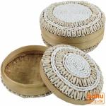 Exotische Korb-Schachtel mit Kauri Muschel, Schmuckschatulle in 2 Größen