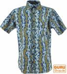 Goa Hippie Hemd, Kurzarm Herrenhemd mit afrikanischem Druck - curry/indigo