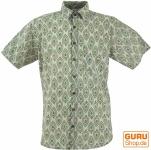 Goa Hippie Hemd, Kurzarm Herrenhemd mit afrikanischem Druck - sand