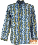 Freizeithemd, Goa Boho Hemd, Langarm Herrenhemd mit afrikanischem Druck, Stehkragenhemd - indigo/curry