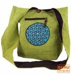Besticktes Sadhu Bag, Goa Tasche Schulterbeutel - grün/blau