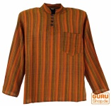 Nepal Fischerhemd gestreiftes Goa Hippie Hemd - orange