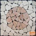 Mosaikfliese mit Kreis aus Marmor (Mo-09)