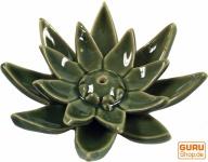 Räucherstäbchenhalter Lotus aus Keramik - grün