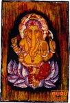 Handgemaltes Batik-Bild, Wandbehang, Wandbild - Ganesh