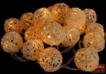 Rattan Ball LED Kugel Lampion Lichterkette - natur