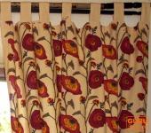 Vorhang, Gardine (1 Paar Vorhänge, Gardinen) mit Schlaufen, handbedruckt, Blumen Motiv