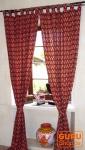 Vorhang, Gardine (1 Paar Vorhänge, Gardinen) mit Schlaufen, handbedruckt, Paisley Design