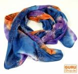 Batiktuch, Batikschal, Benares Lungi, Batik Schal - blau/orange