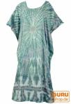 Boho Kaftan, langes Kurzarm Batikkleid, Strandkleid, Sommerkleid in Übergröße - grün/blaugra