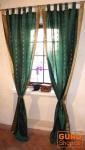 Vorhang, Gardine (1 Paar Vorhänge, Gardinen) aus Sareestoff - smaragtgrün