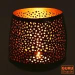 Filigranes orientalisches Metall Windlicht, Teelicht Leuchte mit fein gefrästem Design - 9 cm