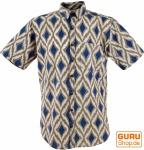 Goa Hippie Hemd, Kurzarm Herrenhemd mit afrikanischem Druck - marine/sand