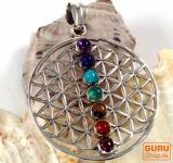 Indischer sieben Chakra Silberanhänger - Flower of life 1